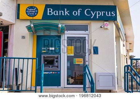 AYIA NAPA, CYPRUS - FEBRUARY 19: The sign on a branch of the Bank of Cyprus on February 19, 2017 in Ayia Napa, Cyprus.