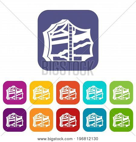 Kimchi, traditional korean food icons set vector illustration in flat style in colors red, blue, green, and other