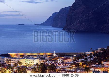 Panorama of Puerto de la Cruz Acantilados de los Gigantes. Acantilados de los Gigantes Tenerife Canary Islands Spain.