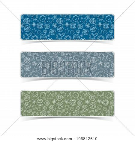 Gear patterns horizontal banners set flat isolated vector illustration