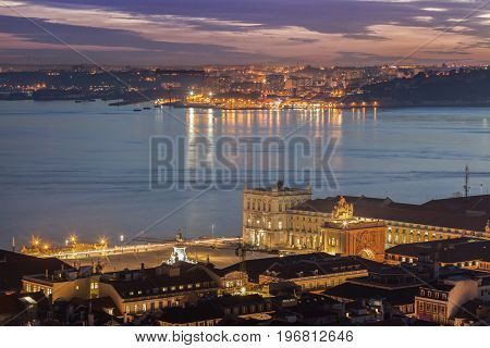 Plaza of Comerce in Lisbon and Tagus River. Lisbon Portugal.
