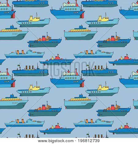 vector seamless pattern with cartoon ships, hand drawn illustration