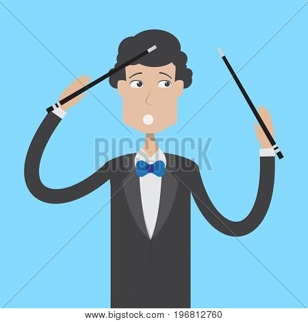 Composer Character Male | set of vector character illustration use for human, profession, business, marketing and much more.The set can be used for several purposes like: websites, print templates, presentation templates, and promotional materials.