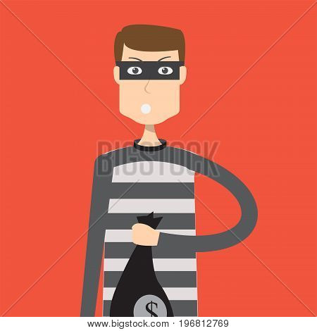 Criminal Character Man | set of vector character illustration use for human, profession, business, marketing and much more.The set can be used for several purposes like: websites, print templates, presentation templates, and promotional materials.
