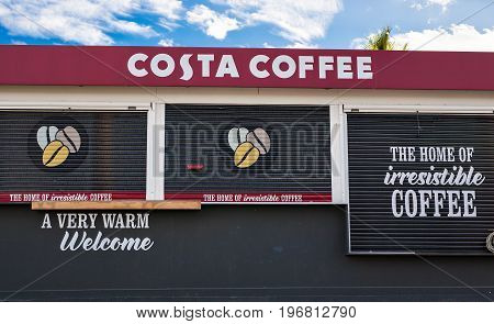 PROTARAS, CYPRUS - FEBRUARY 15, 2017: Costa Coffee shop, Costa Coffee, a British multinational coffeehouse company, is the second largest coffeehouse chain in the world.