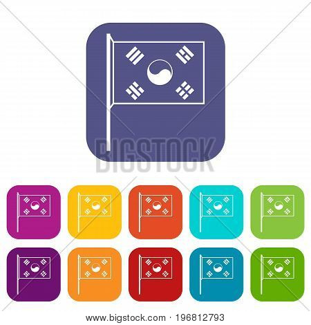 South Korea flag icons set vector illustration in flat style in colors red, blue, green, and other