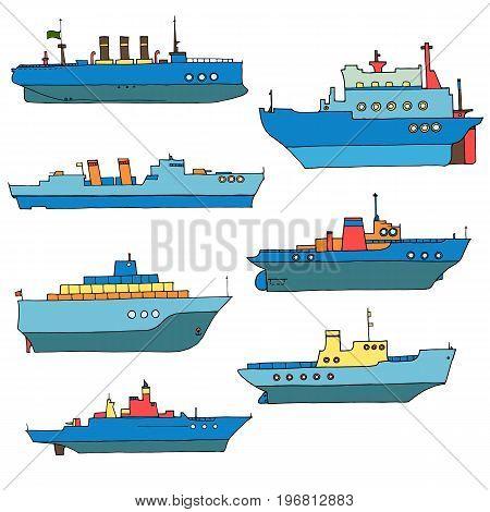 vector set of line drawing ships, hand drawn illustration