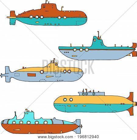 vector set of line drawing submarines, hand drawn illustration