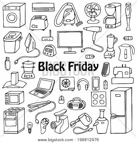 Black Friday household appliances hand drawn collection. Pattern of doodle equipment. Coloring page.