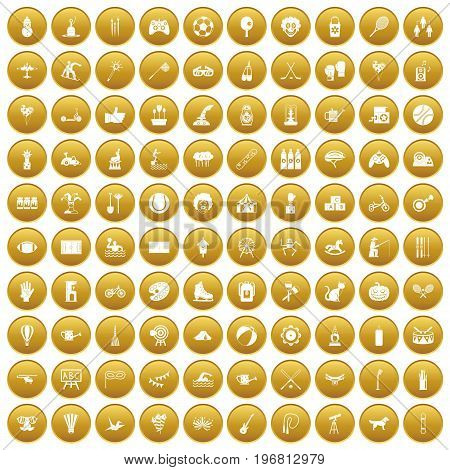 100 kids activity icons set in gold circle isolated on white vector illustration