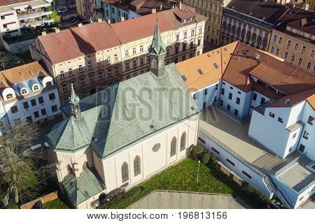 St. Vaclav Church in Ceske Budejovice. Ceske Budejovice South Bohemia Czech Republic.