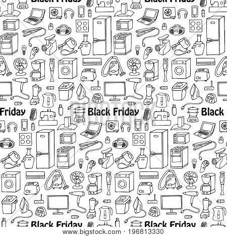 Black Friday household appliances hand drawn seamless pattern. Wallpaper of doodle equipment. Coloring page.