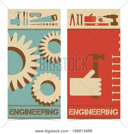 Industrial abstract banners set with gears and repair tools vector Illustration