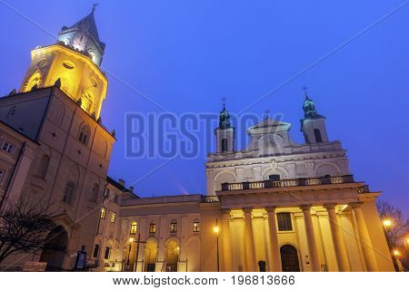 Trynitarska Tower and St. John the Baptist Cathedral in Lublin. Lublin Lubelskie Poland.