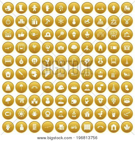 100 kindergarten icons set in gold circle isolated on white vector illustration