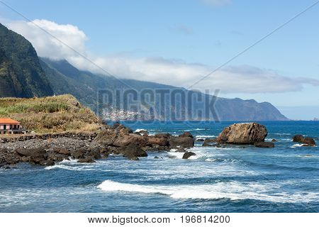 View of the Northern coastline of Madeira Portugal in the Sao Vicente area