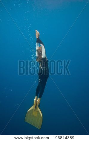 Female Free Diver, Underwater Shoot, Color Image