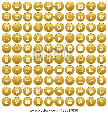 100 knowledge icons set in gold circle isolated on white vector illustration