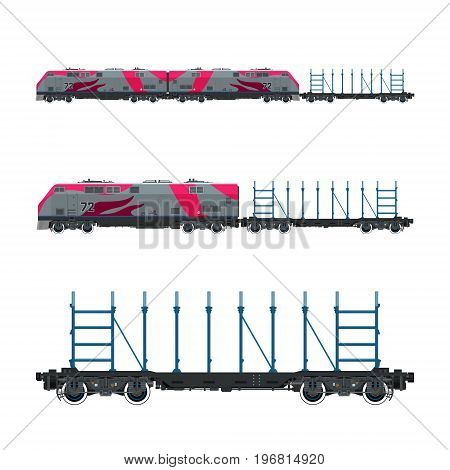 Pink Locomotive with Railway Platform for Timber Transportation Or other Cargoes Train Railway and Cargo Transport Vector Illustration
