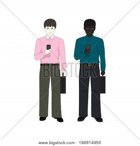 European and an African American Man with a Phone and a Briefcase Two Businessmen European Man in a Pink Shirt and an African American in a Green Shirt Vector Illustration