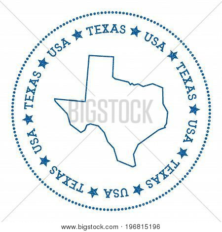 Texas Vector Map Sticker. Hipster And Retro Style Badge With Texas Map. Minimalistic Insignia With R