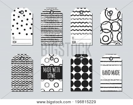 Gift tags and cards set with hand drawn elements. Collection of handmade label paper in black and white. Hand crafted badge sale design. Price tag and hobby card. Vector illustration. Hand made print