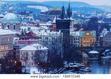 St Francis of Assisi Church and Charles Bridge Tower. Prague Bohemia Czech Republic.