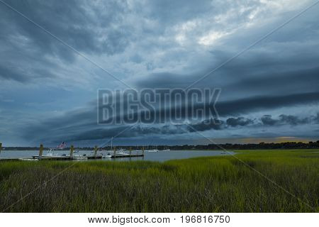 Angry storm front moving over coastal South Carolina