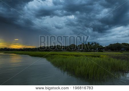 Angry rain storm moving over Beaufort, South Carolina