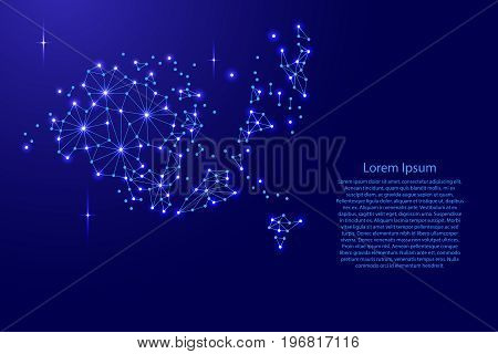 Aland Islands map of polygonal mosaic lines network rays and space stars of vector illustration.