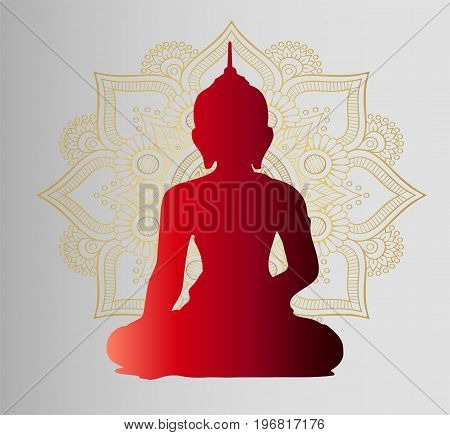 Religion and culture. The buddha is sitting and praying. Beautiful mandala on it.