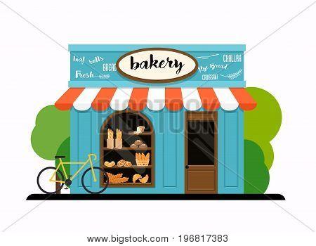 The facade of a bakery shop. Flat design modern vector illustration concept.