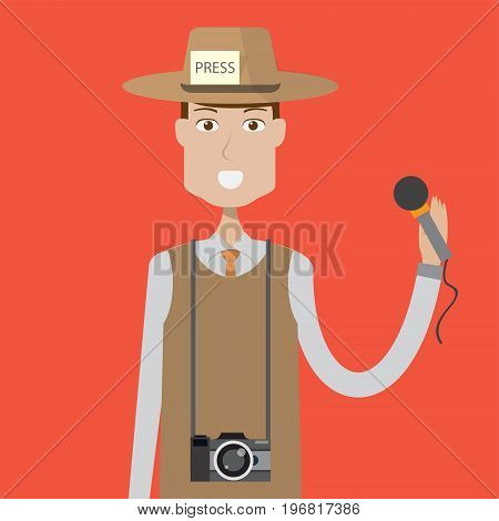 Journalist Character Male | set of vector character illustration use for human, profession, business, marketing and much more.The set can be used for several purposes like: websites, print templates, presentation templates, and promotional materials.