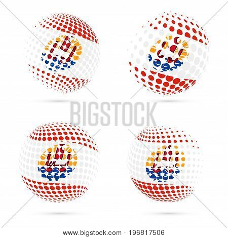 French Polynesia Halftone Flag Set Patriotic Vector Design. 3D Halftone Sphere In French Polynesia N