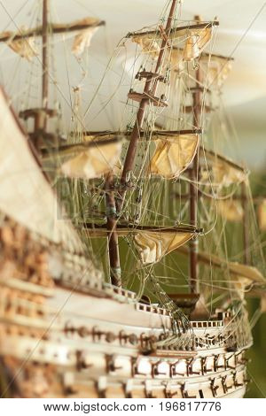 Model of sailing ship made of wood and cloth