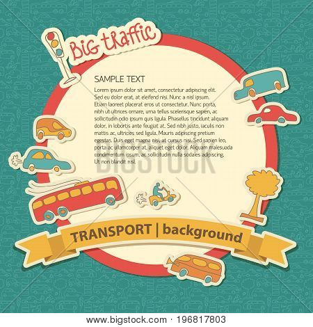 Transportation doodle background with blue ribbon and title transport background and traffic elements vector illustration