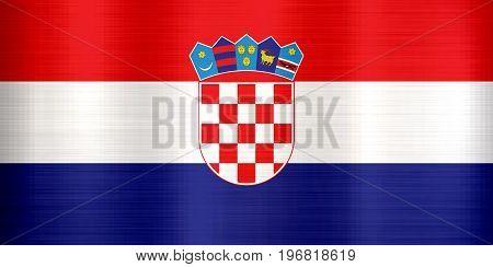 Croatia Flag metallic texture illustration  national red
