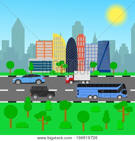 City skyline vector illustration. Cityscape in flat style. Modern city landscape. Cars, trucks and buses ride along the city road. City skyscrapers building office skyline.