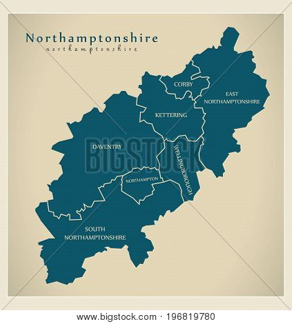 Modern Map - Northamptonshire County With District Titles England Uk Illustration