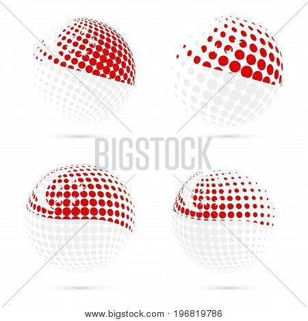 Singapore Halftone Flag Set Patriotic Vector Design. 3D Halftone Sphere In Singapore National Flag C