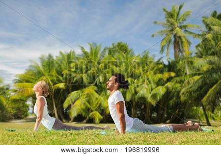 fitness, sport, relax and people concept - couple making yoga cobra pose over exotic natural background with palm trees
