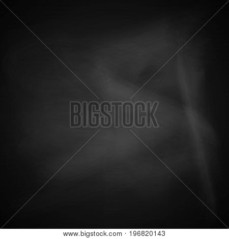 Blank blackboard with white smudges. Vector illustration.