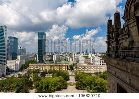 View from the observation deck of the Palace of Culture and Science.
