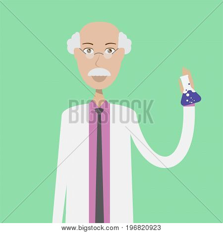 Scientist Character Male | set of vector character illustration use for human, profession, business, marketing and much more.The set can be used for several purposes like: websites, print templates, presentation templates, and promotional materials.