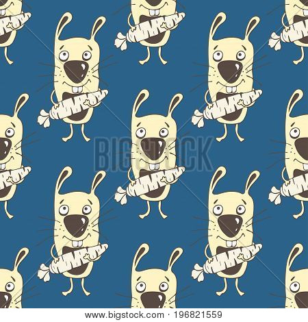 Bunnies Cartoon Seamless Pattern, Hand Drawing, Vector Background. Funny Painted Yellow Rabbit With
