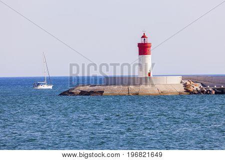 Lighthouse in Cartagena, Spain. Cartagena Murcia Spain.