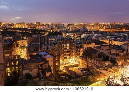 Architecture of Cartagena at evening. Cartagena Murcia Spain.