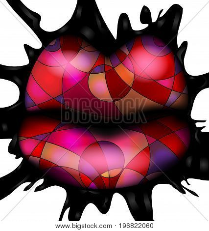 white background, black large blob and abstract colored lips consisting of lines inside