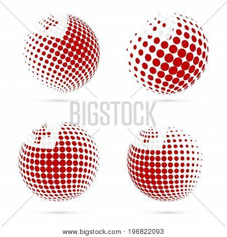Tonga Halftone Flag Set Patriotic Vector Design. 3D Halftone Sphere In Tonga National Flag Colors Is