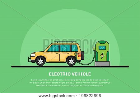 picture of electric car charging at charging station, electromobility concept, eco cars flat line banner